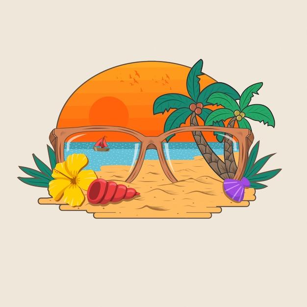 Areia da praia do verão e vetor de festa paraíso de coqueiro Vetor Premium