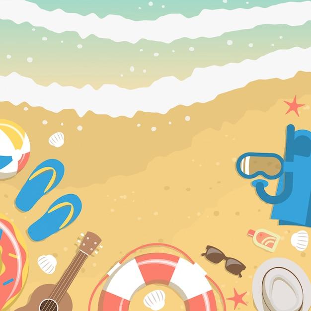 Areia e água do mar da vista superior com elementos de férias de verão Vetor Premium