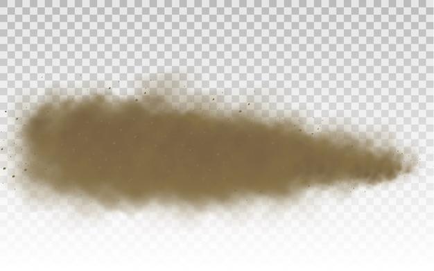 Areia voadora. nuvem de poeira. nuvem empoeirada marrom ou areia seca voando com uma rajada de vento, tempestade de areia. Vetor Premium