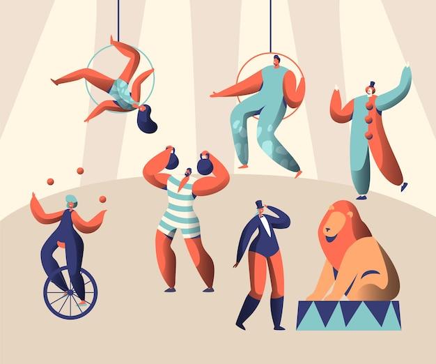 Arena circus show com clown acrobat e animal. malabarista de mulher no monociclo. pesos de levantamento strongman. leão treinado com treinador. aerialists alto sob a cúpula. ilustração em vetor plana dos desenhos animados Vetor Premium