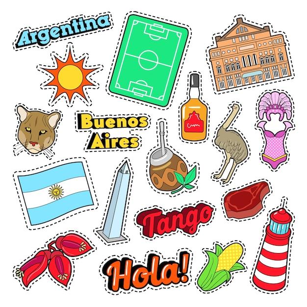 Argentina travel elements com arquitetura e futebol. doodle vector Vetor Premium