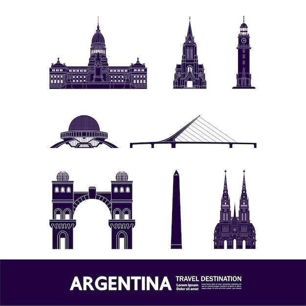Argentina viajar destino grande ilustração. Vetor Premium