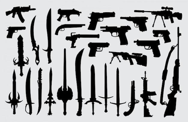 Arma, arma, pistola e silhueta de espada Vetor Premium