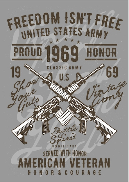 Arma do exército, pôster de ilustração vintage. Vetor Premium