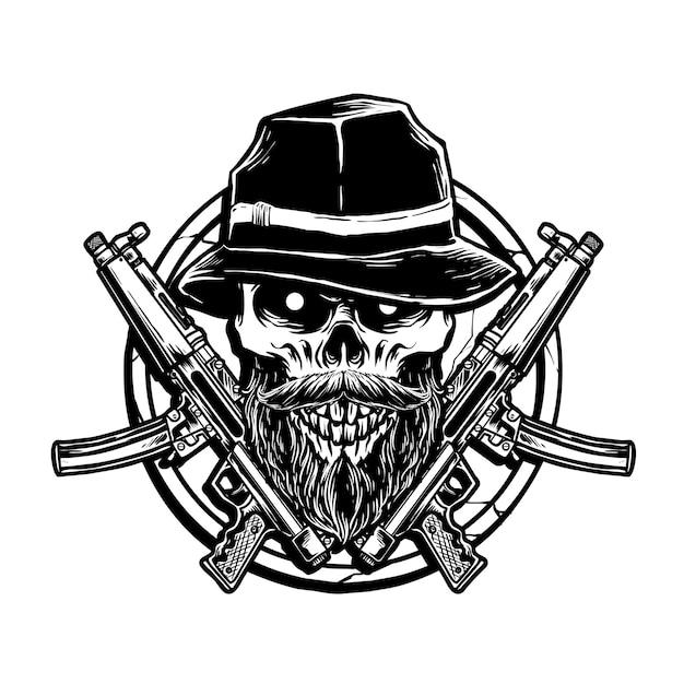 Arma e crânio de gangster Vetor Premium