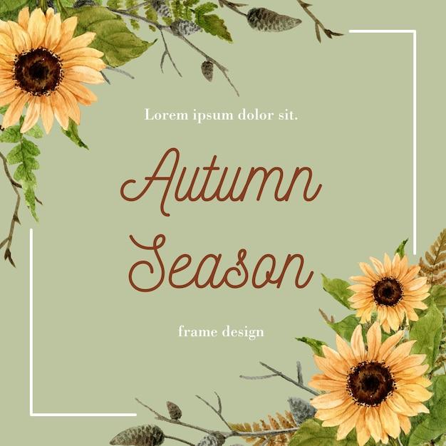 Armação de borda com tema de outono. Vetor grátis
