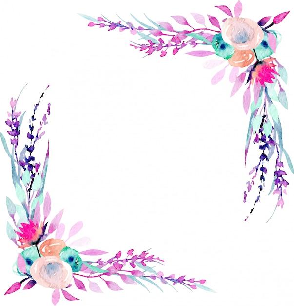 Armação de borda de canto com flores silvestres de simples aquarela rosa e roxas abstratas Vetor Premium
