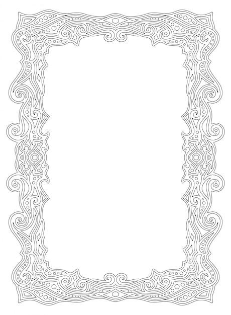 Armação de borda para colorir página de livro com ornamento linear Vetor Premium