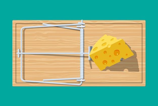 Armadilha de rato de madeira com queijo, clássica armadilha de barra com mola. Vetor Premium