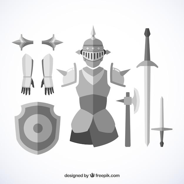 Armadura e espadas medievais com design plano Vetor grátis