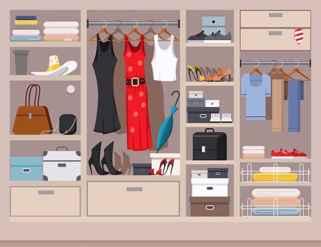 Armário aberto com roupas femininas e masculinas Vetor Premium