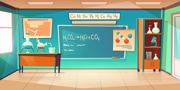 Armário de química, interior do laboratório de sala de aula Vetor grátis