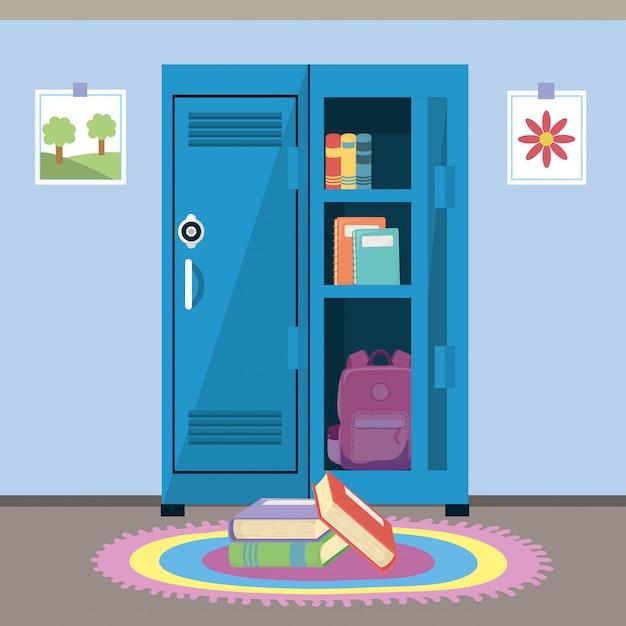 Armário escolar e suprimentos Vetor grátis