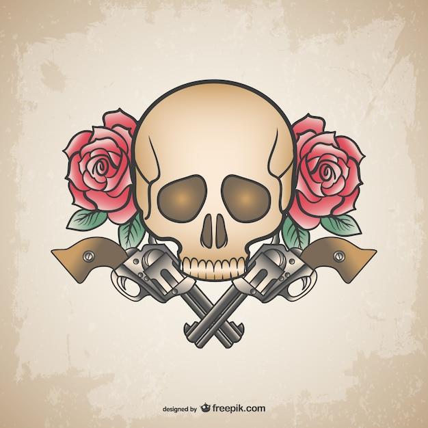 Armas crânio tatuagem e flores projeto Vetor grátis