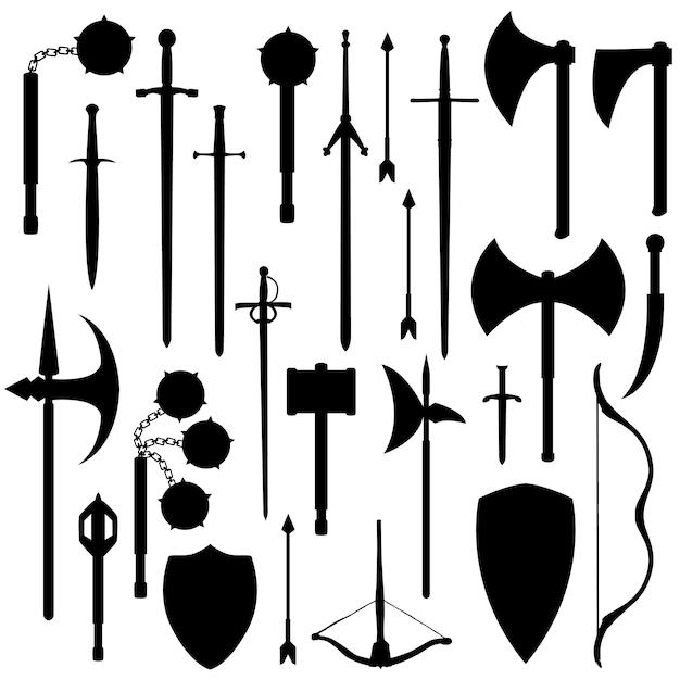 Armas medievais silhueta clip art vector Vetor Premium
