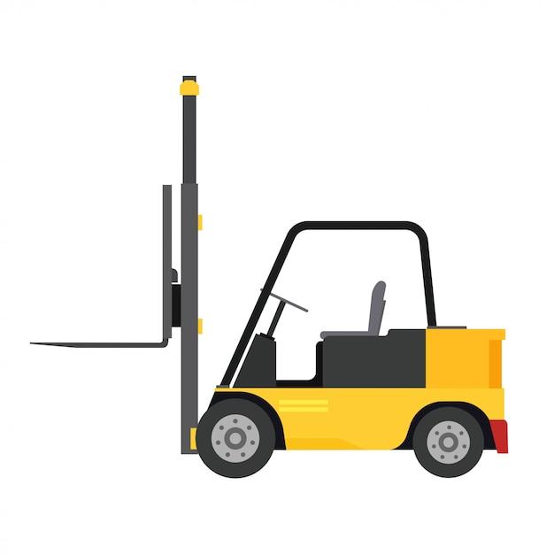 Armazém do equipamento da ilustração da entrega da opinião lateral do caminhão da carga do vetor da empilhadeira. Vetor Premium