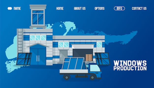 Armazém fora, ilustração de site de produção de janela. transporte de produtos por carga, entrega global trabalhando Vetor Premium