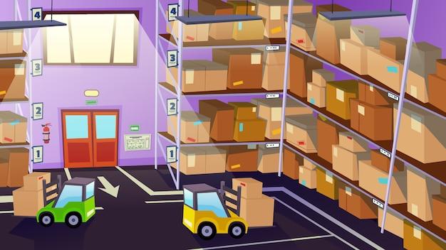 Armazém interior interior com transporte logístico Vetor Premium