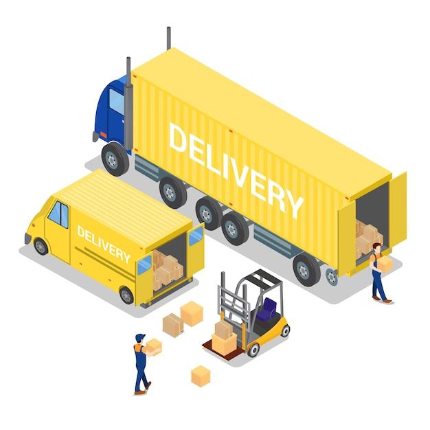 Armazém isométrico. indústria de carga. trabalhador em empilhadeira. carregamento de carga. Vetor Premium