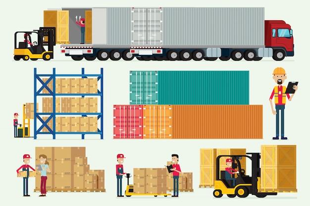 Armazém logístico com caminhão de trabalhadores de armazenamento e vetor de ilustração de caixa de carga de empilhadeira Vetor Premium