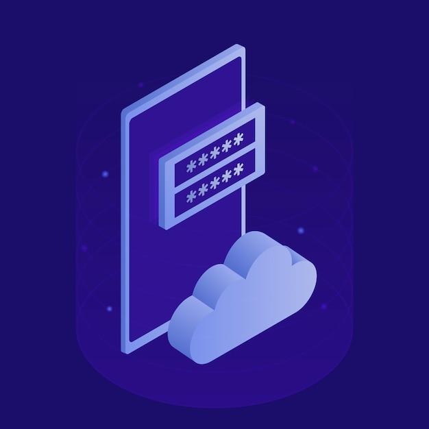 Armazenamento de dados públicos da corporação, acesso a arquivos, sala de servidores modernos, smartphone, ícone da nuvem, formulário de inscrição. ilustração isométrica moderna Vetor Premium