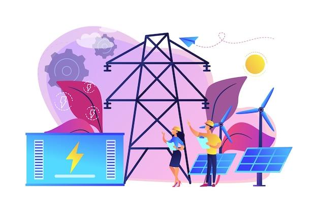 Armazenamento de energia da bateria a partir de uma estação renovável de energia solar e eólica. armazenamento de energia, métodos de coleta de energia, conceito de rede elétrica. Vetor grátis