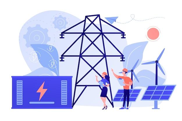 Armazenamento de energia de bateria de estação renovável de energia solar e eólica Vetor grátis