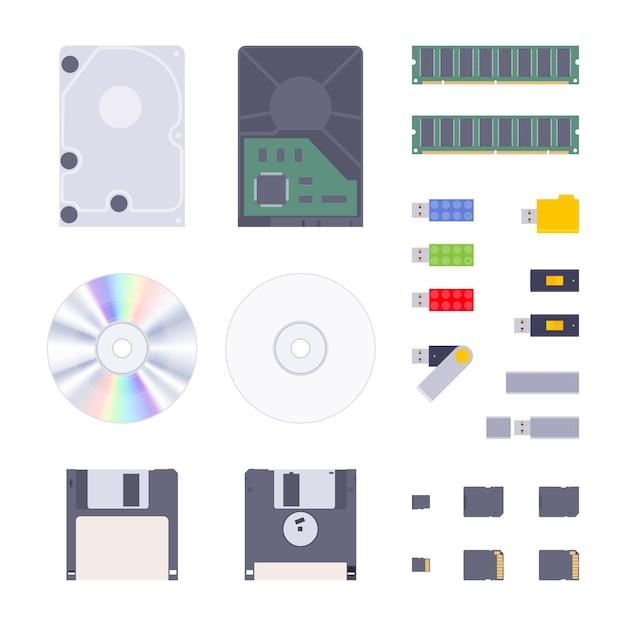Armazenamento de memória digital definido Vetor Premium