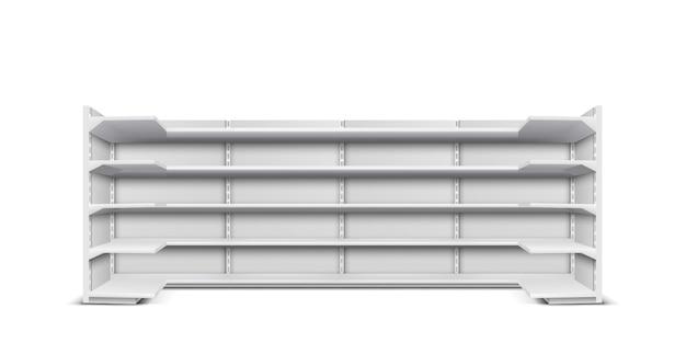 Armazenar vitrine longa com prateleiras vazias para apresentação de produtos e mercadorias Vetor grátis