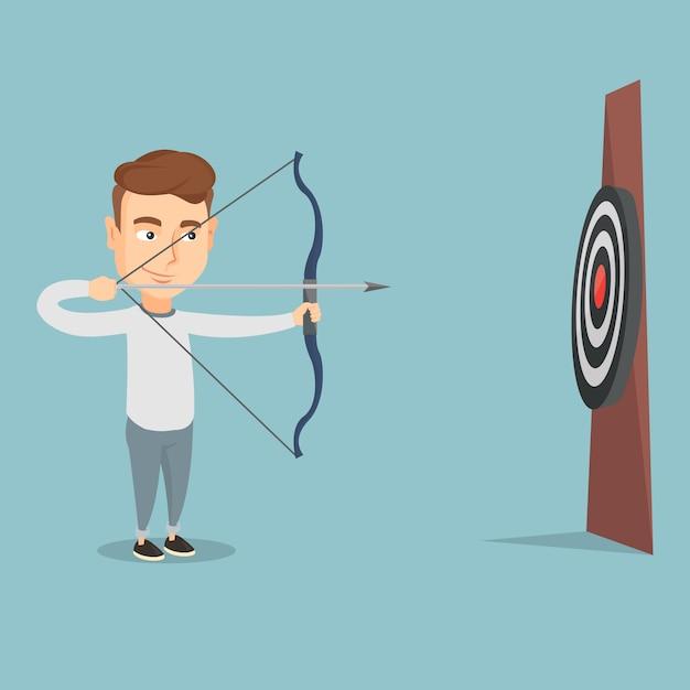 Arqueiro apontando com um arco e flecha no alvo. Vetor Premium