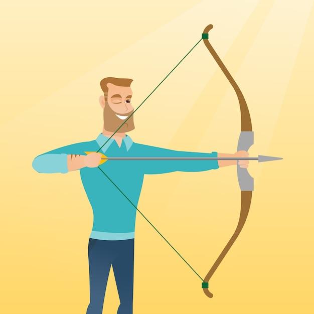 Arqueiro caucasiano novo que treina com um arco Vetor Premium