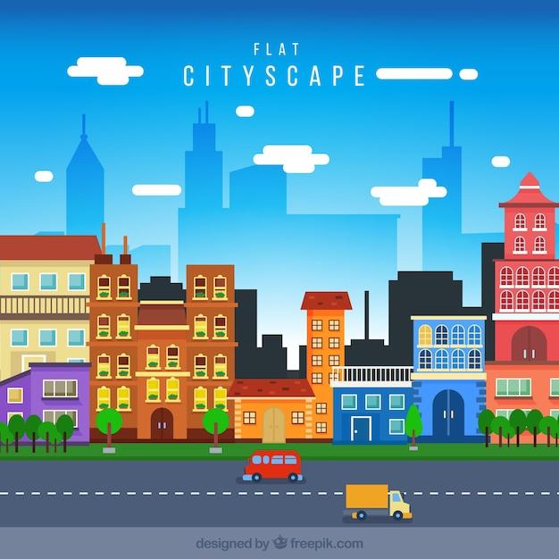 Arquitectura da cidade com casas coloridas em design plano Vetor grátis