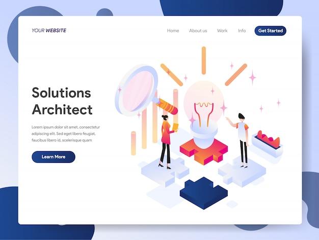 Arquiteto de soluções banner da página de destino Vetor Premium
