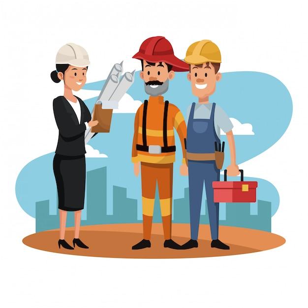 Arquiteto feminino com bombeiro e trabalhador Vetor Premium