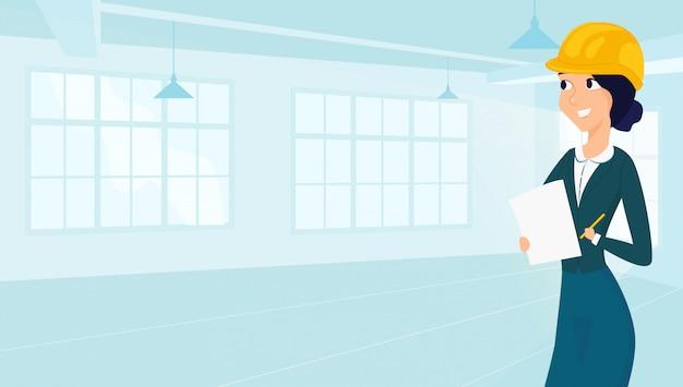 Arquiteto feminino desenha planta baixa para design Vetor Premium