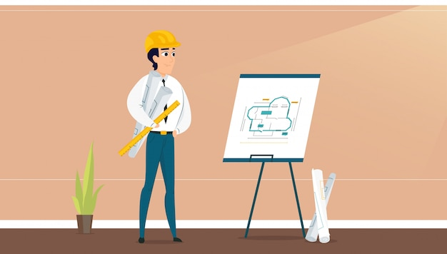 Arquiteto masculino, examinando o plano de design de sala Vetor Premium