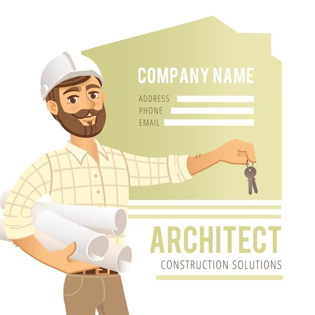Arquiteto no capacete com modelos e chaves à disposição. engenheiro de construção de personagem. Vetor Premium