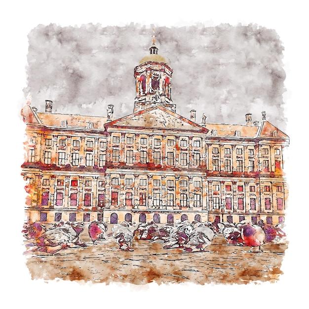 Arquitetura amsterdã holanda esboço em aquarela desenhado à mão Vetor Premium