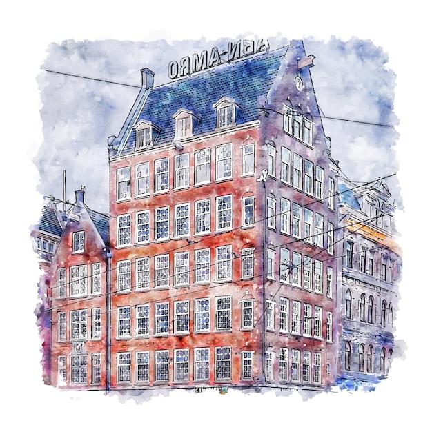 Arquitetura amsterdã holanda esboço em aquarela. Vetor Premium
