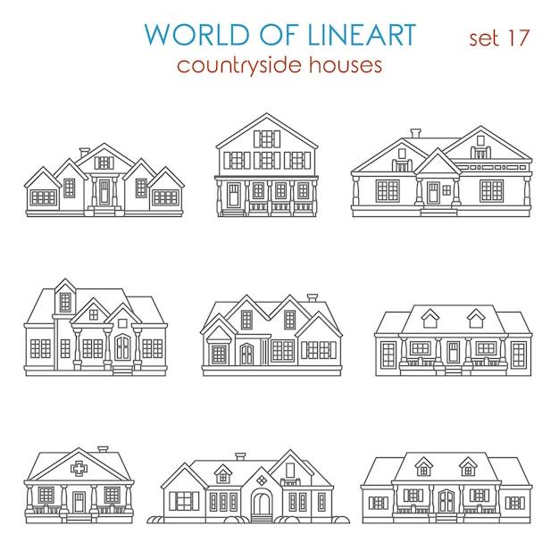 Arquitetura casa de campo casa geminada conjunto de estilo de arte de linha. Vetor grátis
