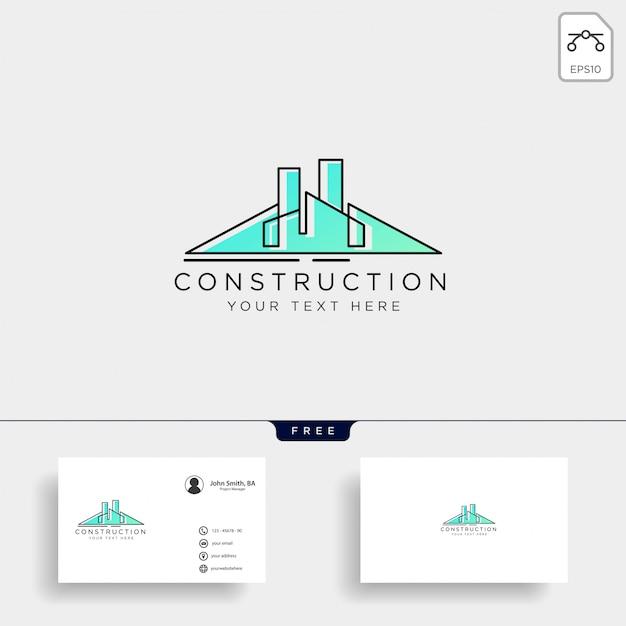 Arquitetura construção logotipo modelo vector ícone elementos Vetor Premium