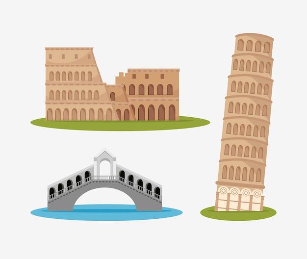 Arquitetura cultura italiana isolada Vetor grátis