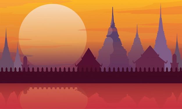 Arquitetura da paisagem do templo de tailândia Vetor Premium