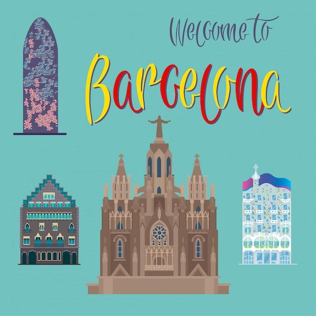 Arquitetura de barcelona. turismo catalunha. edifícios de barcelona. bem vindo a barcelona. ilustração vetorial Vetor Premium