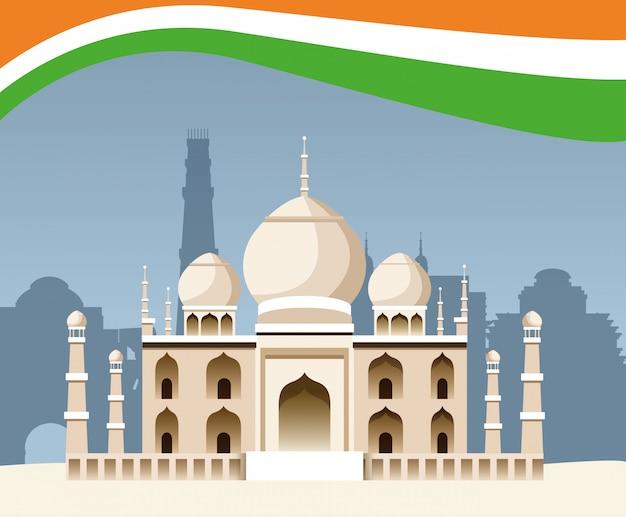 Arquitetura de edifício de monumento nacional de índia Vetor Premium