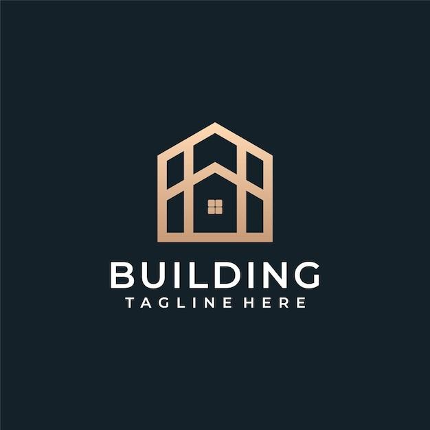 Arquitetura de luxo, construção de vetor de logotipo imobiliário. Vetor Premium