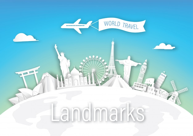 Arquitetura de marcos de viagens do mundo da europa, ásia e américa Vetor Premium