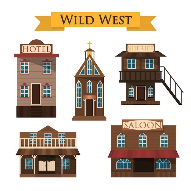 Arquitetura do oeste selvagem. salão, hotel e xerife Vetor Premium