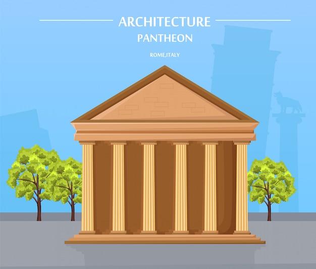 Arquitetura do templo grego e atração de atenas Vetor Premium