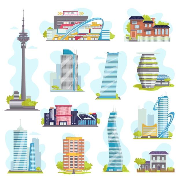 Arquitetura e edifícios modernos da cidade, casas particulares, arranha-céus urbanos, imóveis ou edifícios públicos, hotéis. coleção de ícones de construção. Vetor Premium